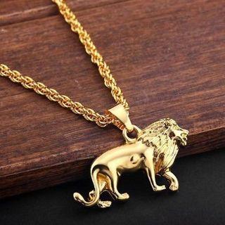 "Gold Plated Animal Lion Pendant Necklace Chaim Charm Men's Hip Hop Jewelry 28"""