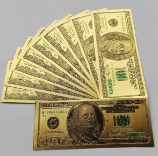 10pcs US$100 dollar 24k Gold Foil Golden USD Paper Money Banknotes Crafts EC