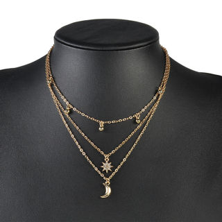 Gold Plated Multilayer Chain Choker Necklace Star Moon Charms