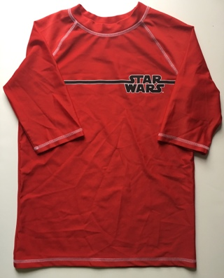 STAR WARS Boys RASH GUARD Swim Shirt Size Large 12-14 UV 50+ Protection Red NEW