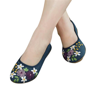 new 2018 Women Flower Flats Slip .On Cotton Fabric Casual Shoes Comfortable Round