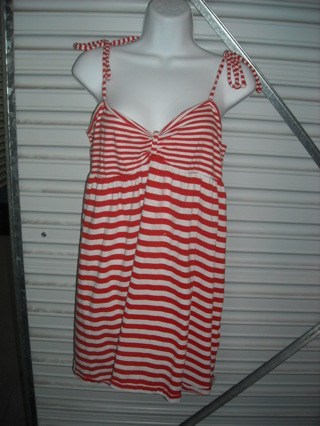 Too Cute! Plus Size Ladies 15/17 Jolly Roger Red White TIE Shoulder Pixie~Boho Dress!!!!!!