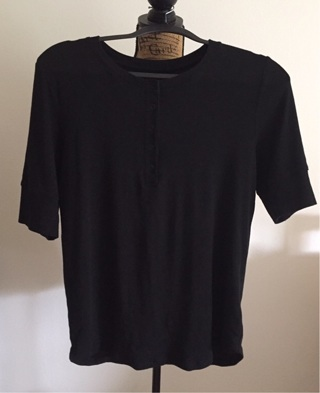 A New Day Black 3/4 Sleeve Top, Size Large