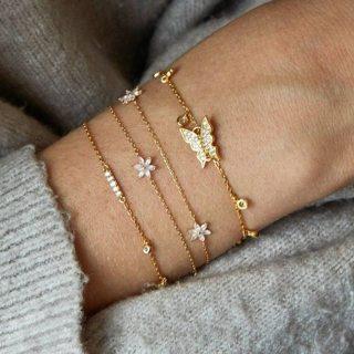 4 Pcs/set Gold Crystal Butterfly Flower Bracelets Boho Charm Bracelet Set for Women 2019 Pulseras