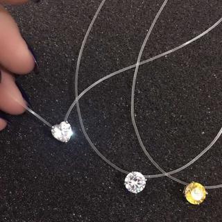 New Unique Fishing line Design Simple Pink White Round Heart CZ Pendant Necklace For Women choker