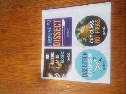Set of four PETA stickers