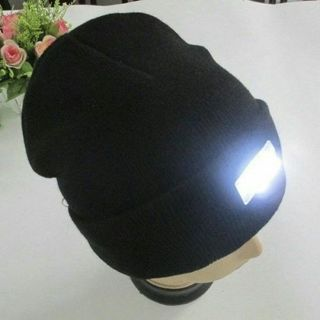 Unisex 5 LED lighted Cap Winter Warm Hat Beanie Angling Hunting Running Camping