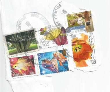 Used Australia Stamps on paper