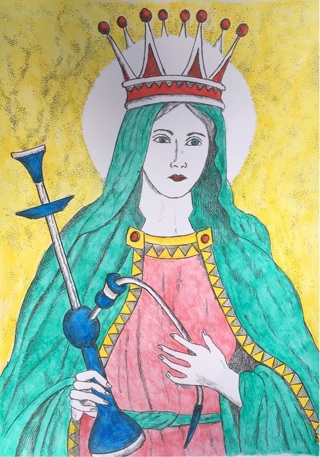 """MADONNA WITH HOOKAH - 5 x 7"""" Art Card by artist Nina Struthers - GIN ONLY"""