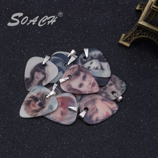 SOACH 1.0mm luminous new guitar pick necklace star pattern piece of pick necklace personality guitar