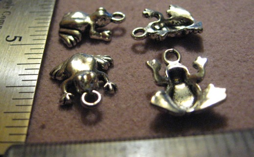4 Cute Silver Color Pewter Frog Charms~ Make some earrings!!!