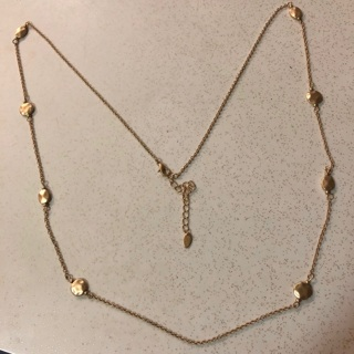 Pure Hammered Disc Gold Tone Necklace with Extender