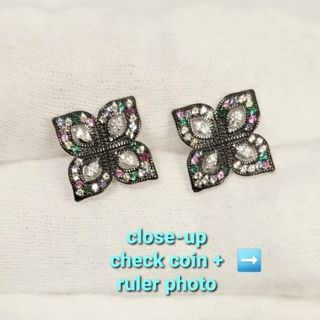 ❤ New, Solid Real 925 Sterling Silver Multicolor Floral Earrings ❤