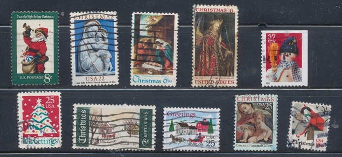 United States:  (10) Christmas Stamps, All Different, Used, In Excellent Condition - CHS-1038a