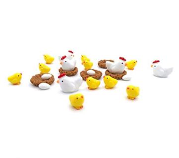 10% off! Mini Animals Miniature Figurines Fairy Garden Chicken Family Set of 16