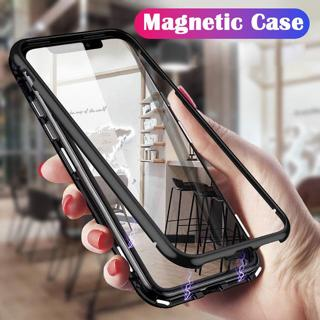 Heavy Duty Magnetic Metal Bumper Tempered Glass Case Cover For iPhone Xs Max 8