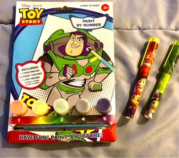 Brand New: Toy Story Paint By Numbers Kit (Paint, Brush, Board) & 2 TS Ink Pens. FUN!