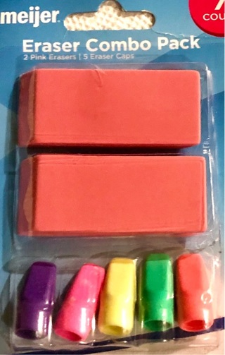 Brand New Pack of Seven Meijer Erasers. Various Colors / Sizes