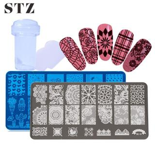STZ 2pcs Stamping Template Nail Art Plates Jelly Stamper Scraper Set Stencil Flower Lace Manicure