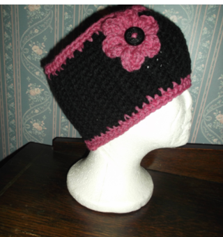 BLACK/PINK Crocheted / Knitted Ear Warmers / Headband