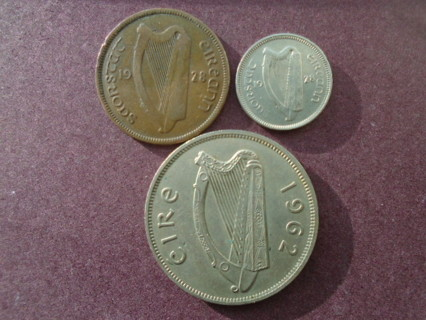 1928 1928 & 1962 OLD IRELAND COINS..FULL DATES!