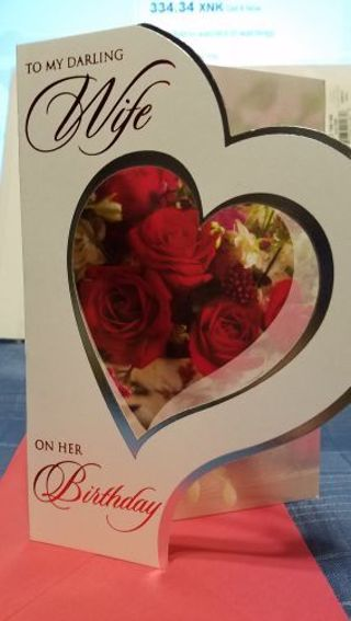 """BEAUTIFUL CARD """" TO MY DARLING WIFE ON HER BIRTHDAY"""", CARD W/ RED ENVELOPE"""