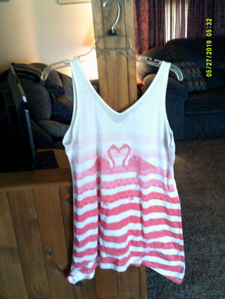 "OP BRAND PINK,FLOWY,LONG{LONG=34"",BUST=38""} SUMMER T TOP,SIZE=WOMANS LARGE"