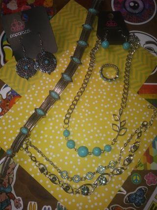 ❇Jewelry Lot❇ Turquoise and Black -Earrings ,Bracket Necklaces and more Read Description