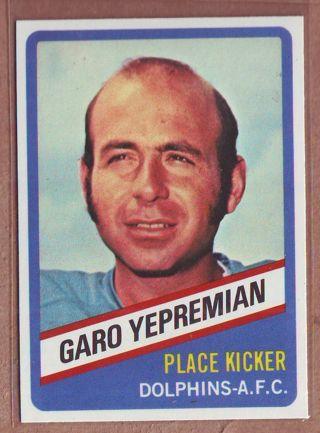 1976 Topps Wonder Bread Garo Yepremian Football Card # 12 Dolphins