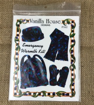 Fleece Emergency Set Pattern Mittens Hat Scarf Bag New in Pkg uncut Vanilla House Designs