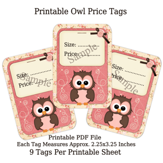 Printable Pink Owl Price Tags