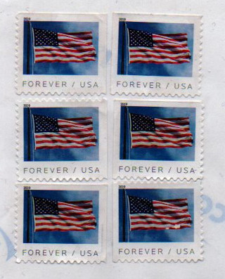 uncanceled US Postage * six forever stamps * self-adhesive on foil BRO_S5