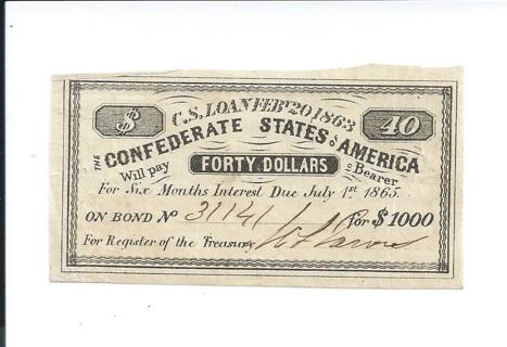 CSA Confederate States of America 1861 $40 Authentic Civil War Bond Note Coupon