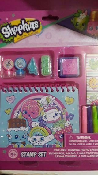 *NEW* Shopkins Stamp Set Drawing Pad Stickers Ink Pad Mini Stampers Foam Mini Markers