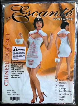 CHINESE TAKE OUT Adult Costume Size Large by Escalanté