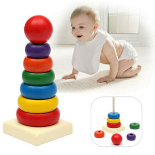 Educational Toys Stack Up Play Toy Rainbow Kids Wooden Stacking Tower Baby Ring