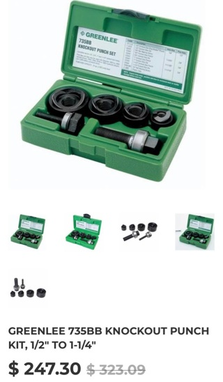 Greenlee Ball Bearing Knockout Set 735BB