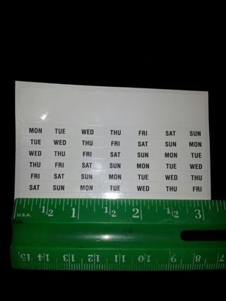 TINY DAYS OF THE WEEK- STICKERS- (1) single sheet-42, as pictured