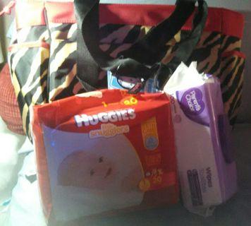 Bnwt Zebra Print Diaper Bag W Changing Pad 1 Pack Of Size Huggies