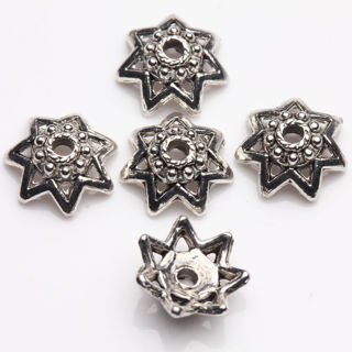 25Pcs Tibet Silver Plated Flower Spacer Bead Caps Jewelry Findings DIY 10x3.5mm
