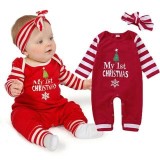 Christmas Newborn Baby Girl Stripe Romper Jumpsuit Pants Headband Outfit Clothes