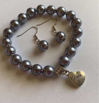 Mother's Day mom Bracelet and Matching Earrings