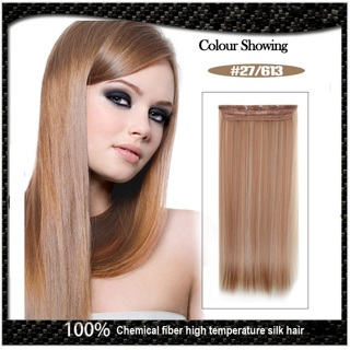 "New Women Seamless Five Clips Piece Straight Hair Extensions Long 61cm/24"" 120g Color #27/613"