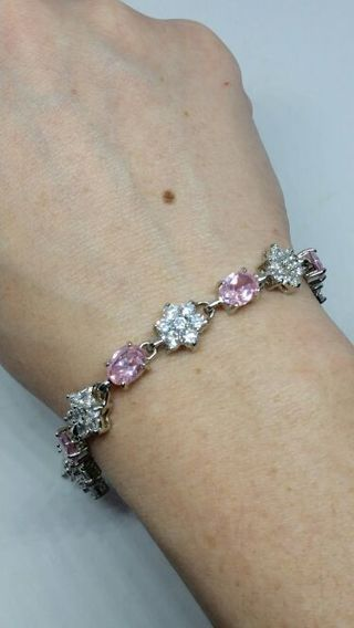 Silver Tone Big Bling Clear Stone Hearts and Pink Oval bracelet