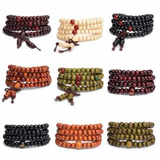 108 Beads Buddhist Buddha Wood For Prayer Bead Mala Bracelet 8mm Sandalwood