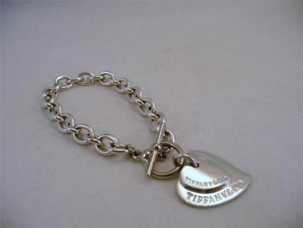 Tiffany Co 925 Double Heart Tags Silver Bracelet