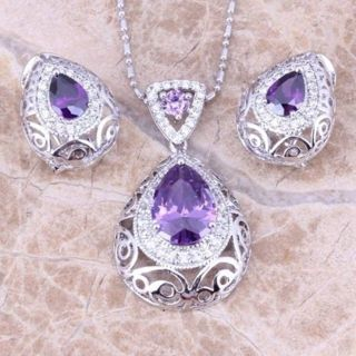 925 Silver Filled Jewelry Set Amethyst Sapphire Ruby Necklace+Earrings+Rings