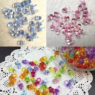 50Pcs Mini Pacifier For Girl Boy Baby Shower Birthday Party Favor Cake Decor Set