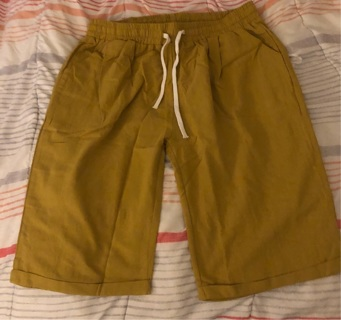 Brand New: Linen, Mustard Colored 1x, Side Pocketed, Short Pants. Draw String Waistband