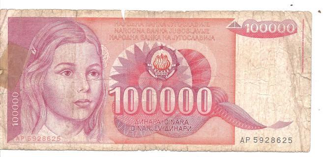 100000 Anhapa Dinara Paper Currency From Yugoslavija